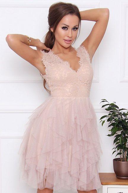 Sukienka elegancka mini szyfon beżowa