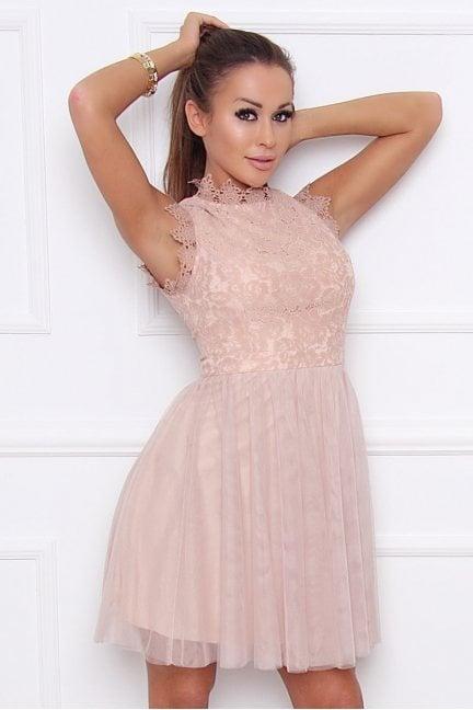Sukienka modna z koronką tiulowa beżowa