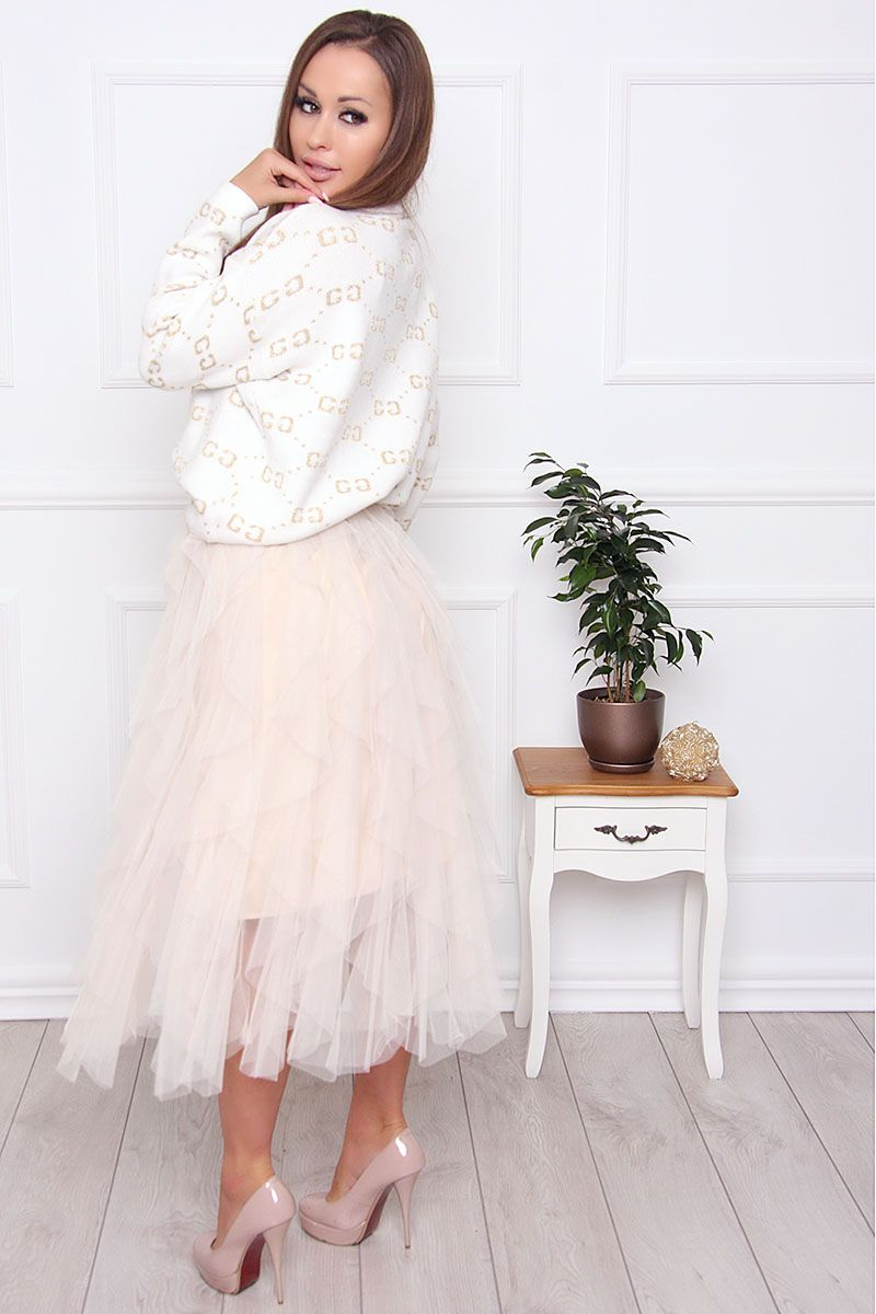 Spódnica midi tiulowa falbanki beżowa modne spódnice sklep CosmosModa
