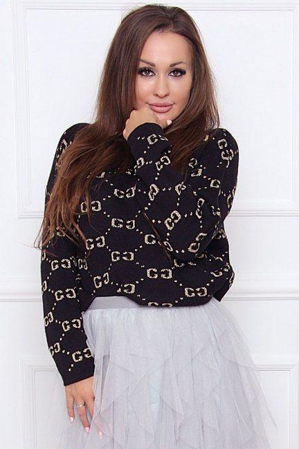 Sweter damski ciepły we wzory czarny