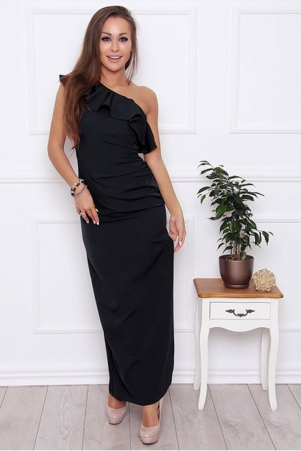 Sukienka ołówkowa maxi falbanka czarna