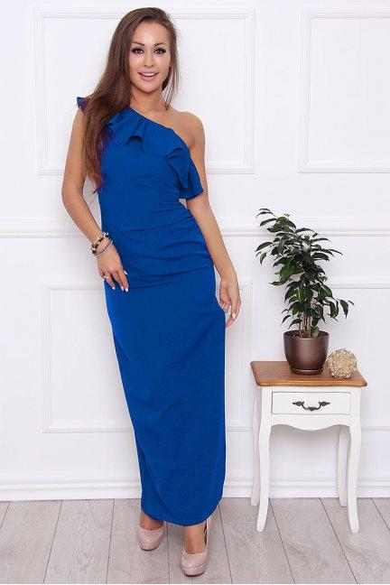 Sukienka ołówkowa maxi falbanka chabrowa