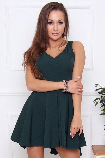 Sukienka rozkloszowana z dekoltem zielona