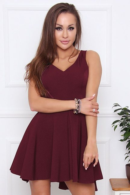 Sukienka damska na ramiączka bordowa