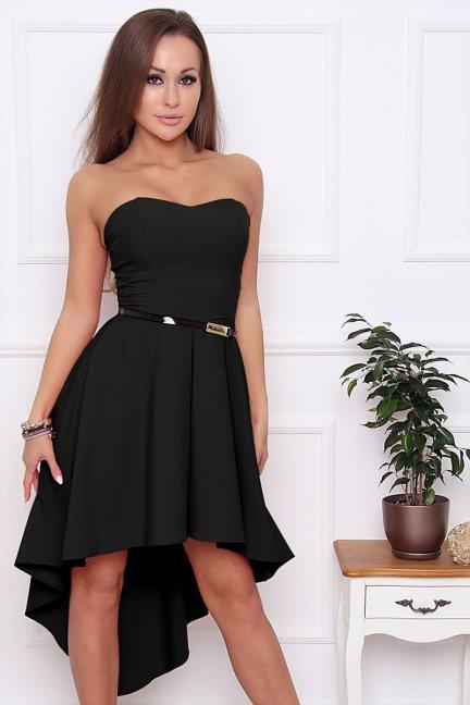 Sukienka asymetryczna dłuższy tył czarna