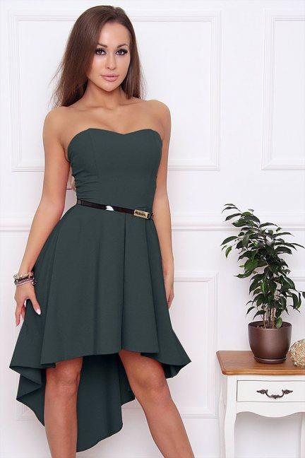 Sukienka asymetryczna dłuższy tył zielona