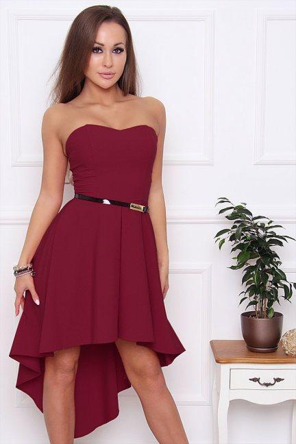 Sukienka asymetryczna dłuższy tył bordowa