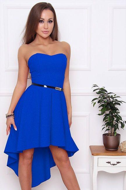 Sukienka asymetryczna dłuższy tył chabrowa