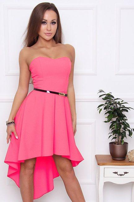 Sukienka asymetryczna dłuższy tył różowa