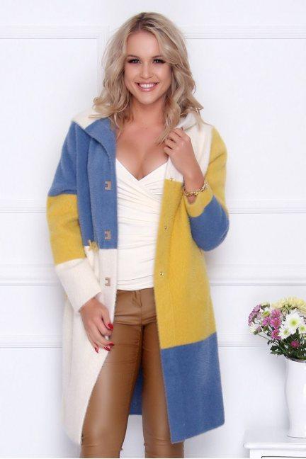 Płaszcz modny z alpaki kolorowe pasy ecru