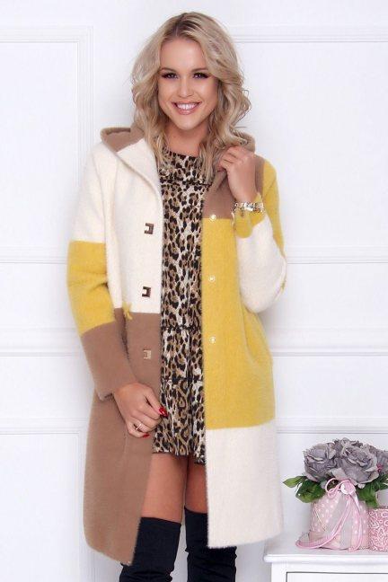 Płaszcz długi z alpaki kolorowe pasy ecru