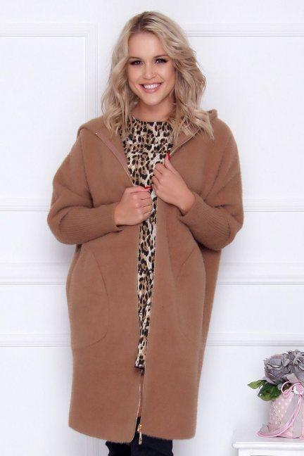 Płaszcz ciepły alpaka z kapturem camel