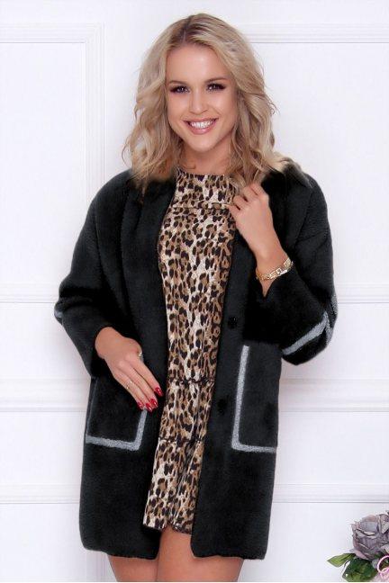 Płaszcz damski alpaka z napisem czarny
