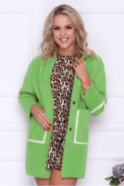 Płaszcz damski alpaka z napisem zielony