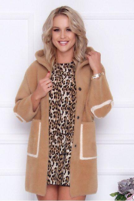 Płaszcz damski alpaka z napisem camel