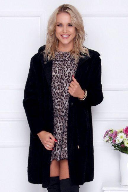Płaszcz oversize alpaka z kieszeniami czarny