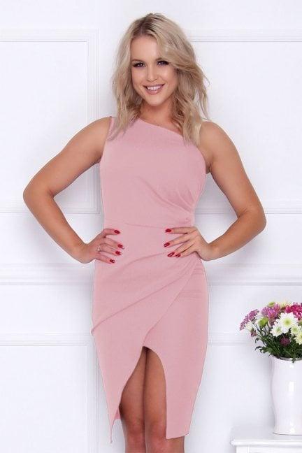 Sukienka modna na jedno ramię różowa