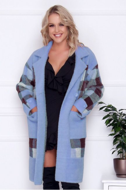 Płaszcz długi z guzikami alpaka niebieski