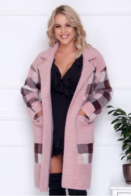 Płaszcz długi z guzikami alpaka różowy