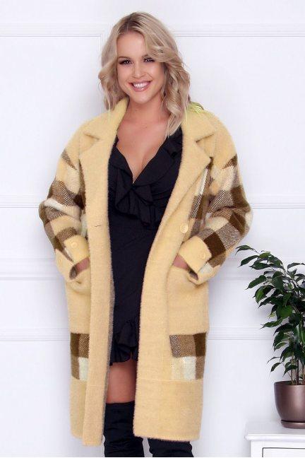 Płaszcz długi z guzikami alpaka beżowy
