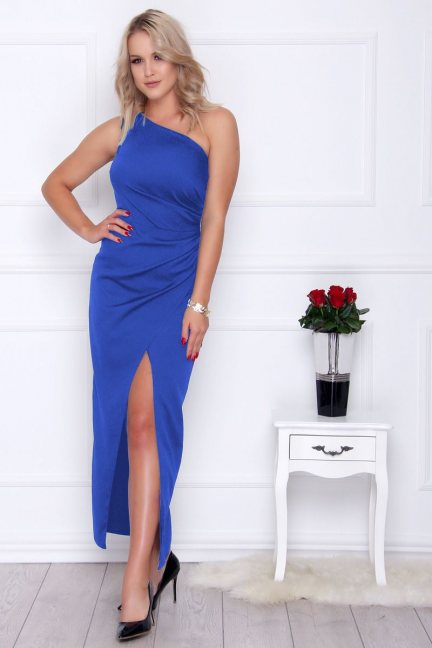 Sukienka dopasowana maxi chabrowa