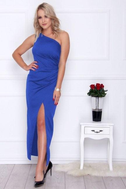 Sukienka elegancka maxi rozporek chabrowa