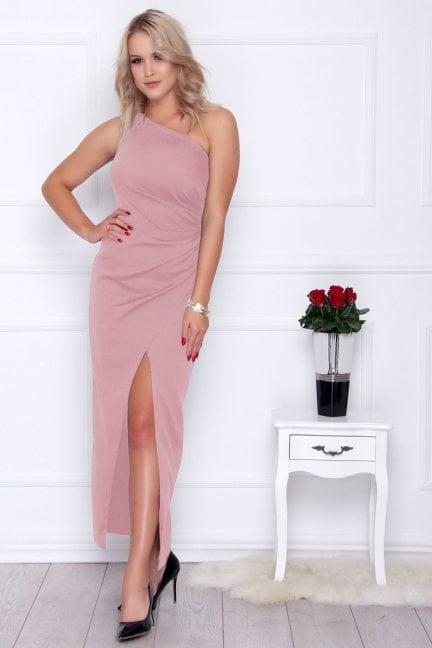 Sukienka dopasowana maxi różowa