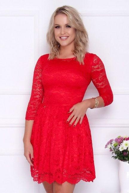 Sukienka koronka rozkloszowana czerwona