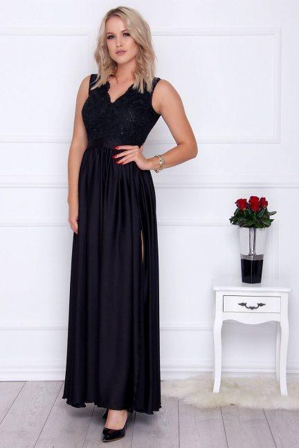 Sukienka damska z koronki maxi czarna