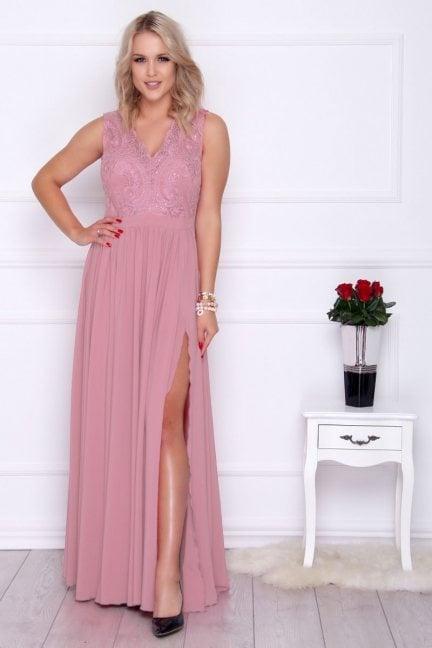 Sukienka damska z koronki maxi różowa