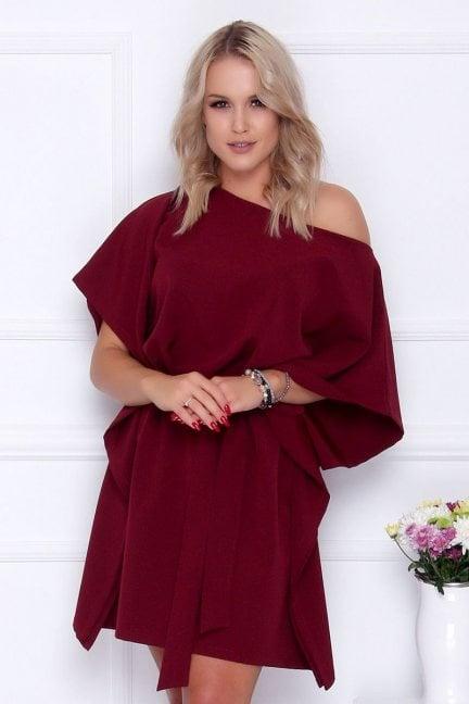 Sukienka wizytowa nietoperz bordowa
