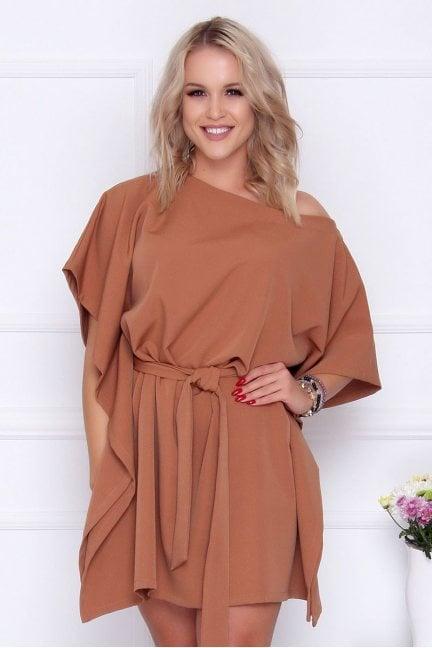 Sukienka wizytowa nietoperz camel