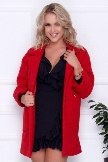 Płaszcz damski wełniany z guzikami czerwony