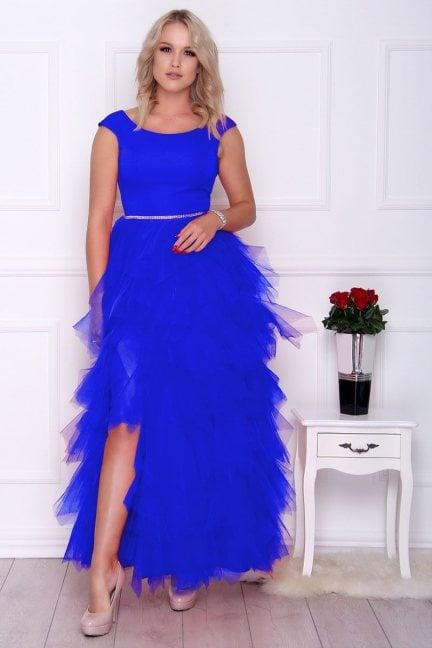 Sukienka elegancka maxi falbanki chabrowa