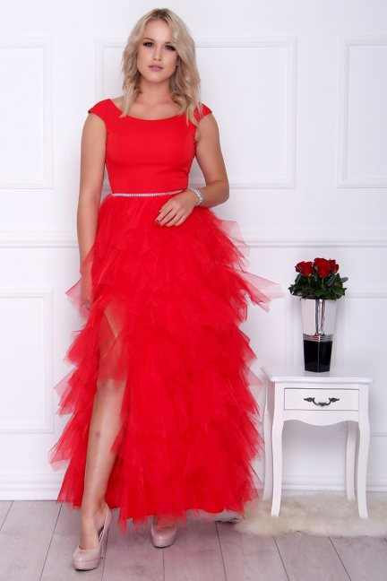Sukienka elegancka maxi falbanki czerwona