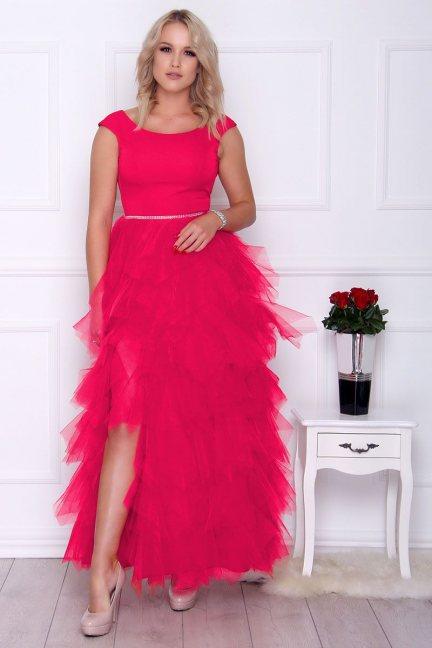 Sukienka elegancka maxi falbanki fuksja