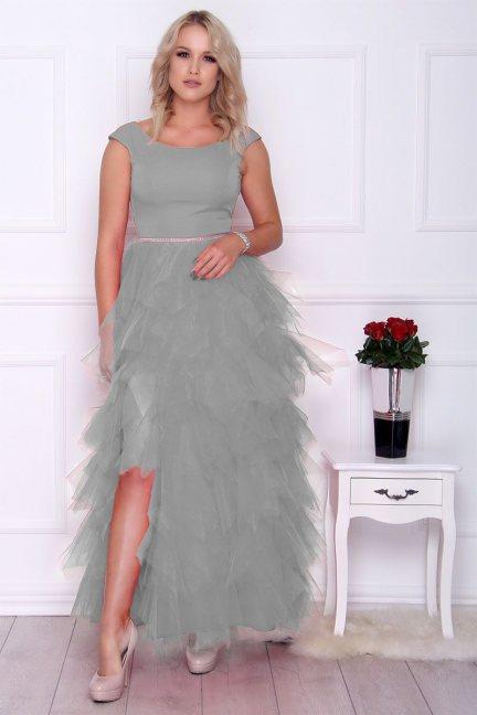 Sukienka elegancka maxi falbanki szara