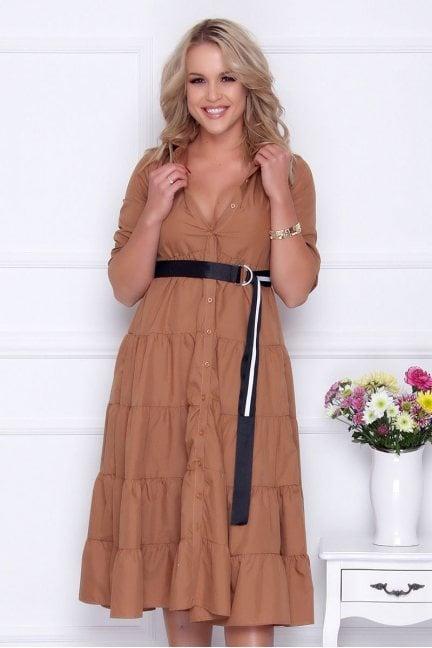 Sukienka modna koszulowa dekolt camel