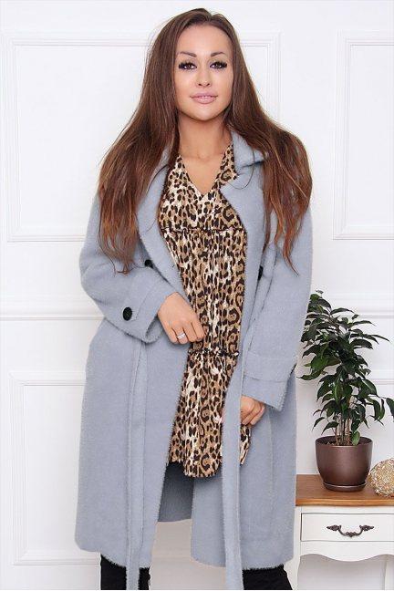 Płaszcz damski wiązany z alpaki szary