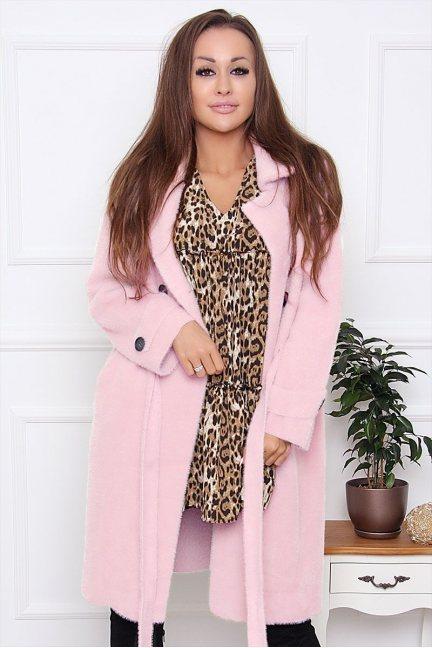 Płaszcz damski wiązany z alpaki różowy