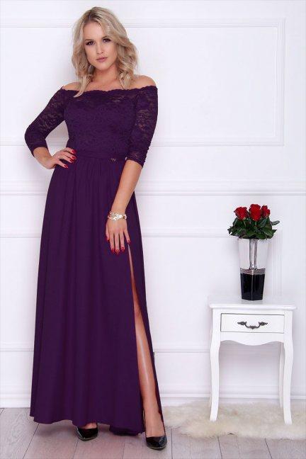 Sukienka maxi z koronką rozporek fioletowa