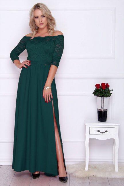 Sukienka maxi z koronką rozporek zielona