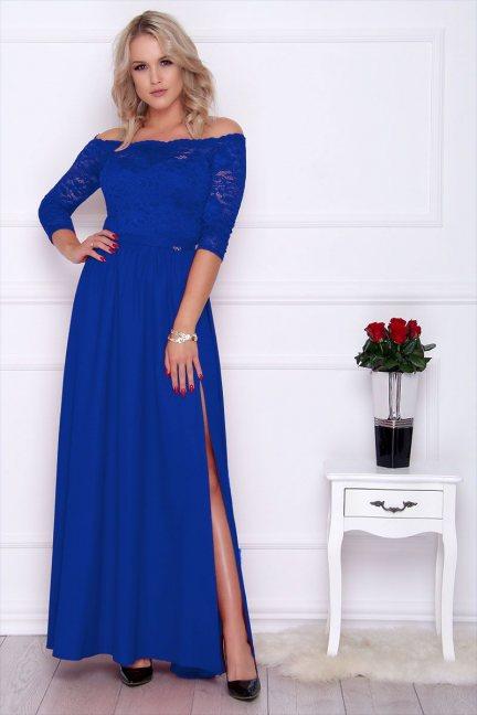 Sukienka maxi z koronką rozporek chabrowa