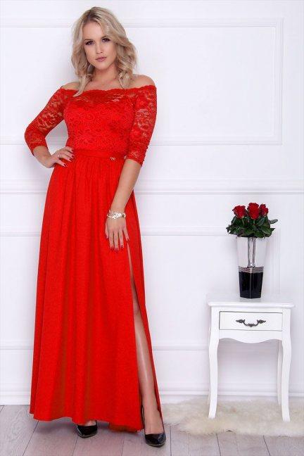 Sukienka maxi z koronką rozporek czerwona