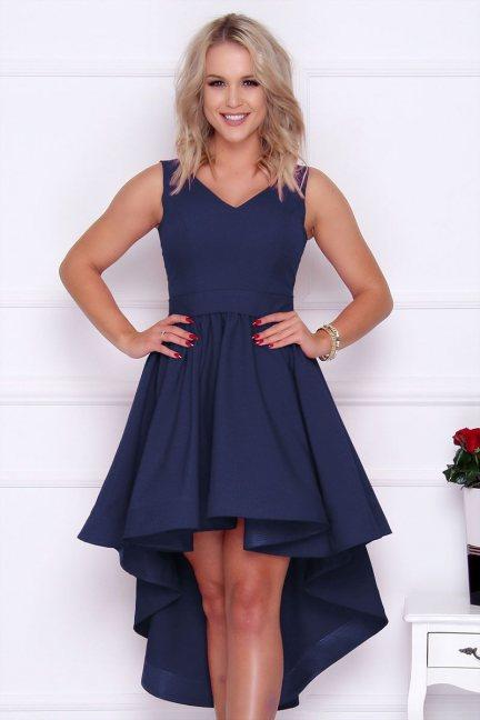 Sukienka asymetryczna z dekoltem granat