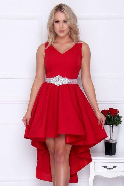 Sukienka damska asymetryczna czerwona