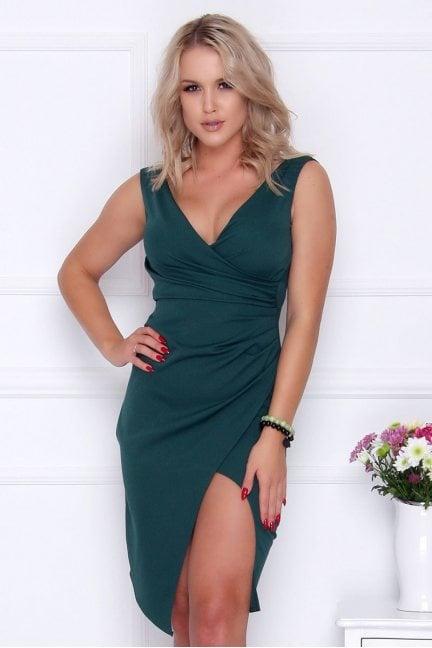 Sukienka ołówkowa midi rozporek zielona