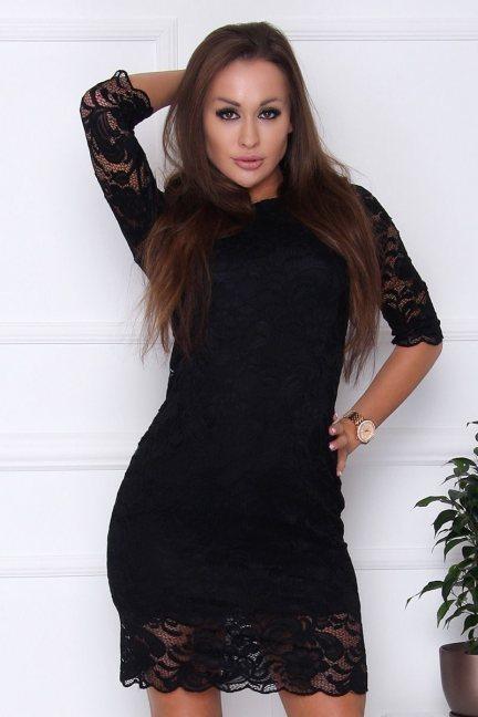 Sukienka dopasowana z koronki czarna