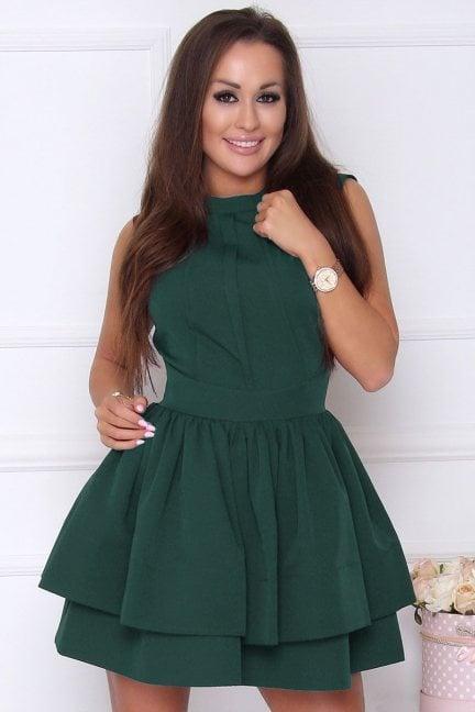 Sukienka elegancka rozkloszowana zielona