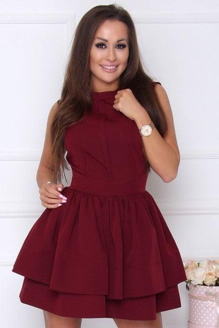 Sukienka elegancka rozkloszowana bordowa